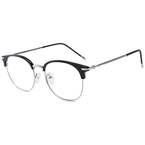 KOOSUFA 50er Jahre Retro Blaulichtfilter Brillen Anti Blaulicht Brillen Ohne Sehstärke Herren Damen Computer Gaming Brillen Anti Müdigkeit Halbrahmen Mode Brillengestelle mit Etui (Helles Schwarz)