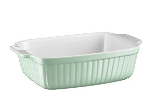 Mäser 931485 Serie Kitchen Time, Auflaufform klein, rechteckig, ideal auch für Lasagne, als kleine Backform und Tiramisu-Form, kratz- und schnittfeste eckige Ofenform, 25,5 x 16 x 7 cm, Keramik, Grün