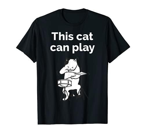 Funny Jazz Cat Drummer T-Shirt