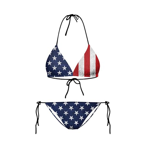 Perfect Female Printed Swimsuit Sexy Bikini Independence Day Flag Digital Printed Swimsuit Set (M,Y03048)