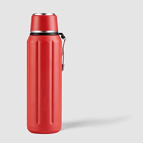 Matraz Termo Vacío, Termo Material Aislante 5 Capas, Matraz Vacío con Taza Beber, Se Mantiene Caliente Durante 24 Horas, Frío Durante 48 Horas, 600 Ml (Color : Red)