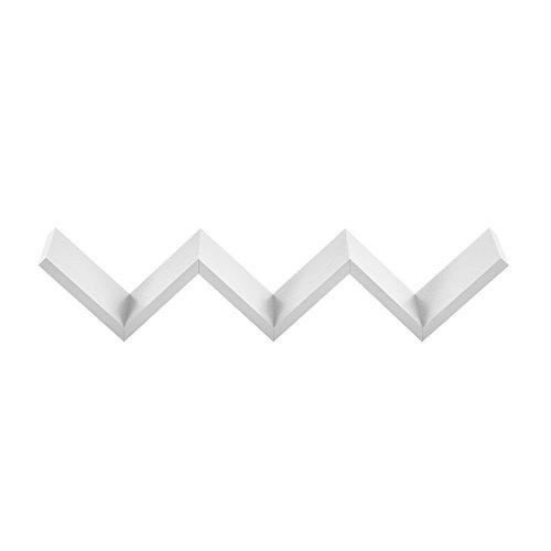 [en.casa] Stylisches Zick-Zack Wandregal Weiß matt Retro-Design