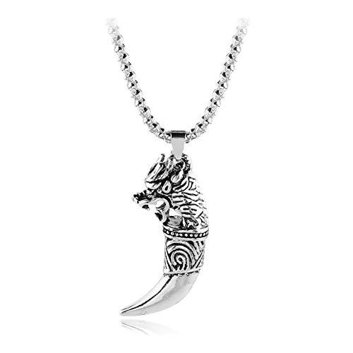 AdorabFruit Présent Pendentif Punk Lobo Lobo Collar de la Vendimia Colgante de Diente de Viking Amuleto Collar for la Mujer Hombre Complementos de Fahsion joyería
