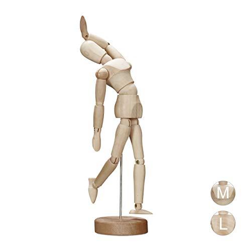 Relaxdays Gliederpuppe aus Holz, zeichnen, basteln, bewegliche Modellpuppe, Künstler, klein, Ständer, 15 cm hoch, natur