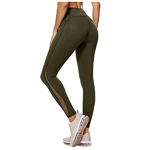 Leggings de cintura alta soloide para mujer, para gimnasio, fitness, entrenamiento, correr, control de barriga, pantalones de yoga, rosso, XL