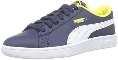 Puma Smash v2 L Jr, Scarpe da Ginnastica Basse Unisex-Bambini, Blu (Peacoat White-Blazing Yellow), 37 EU