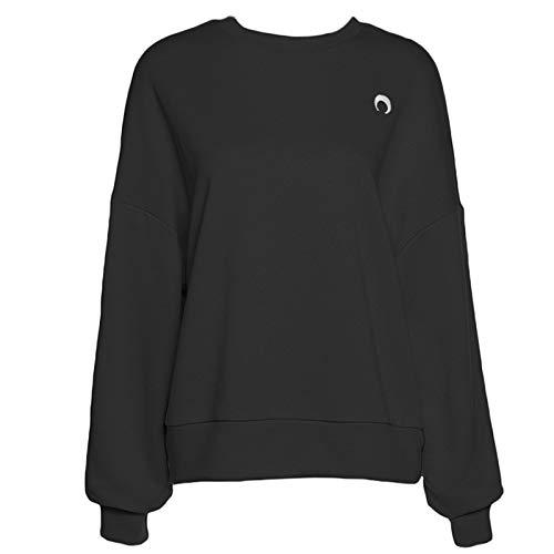 unknow Damen-Sweatshirt, Fledermausärmel, Rundhalsausschnitt, Mond, Stickerei, Oversize, lockeres Oberteil