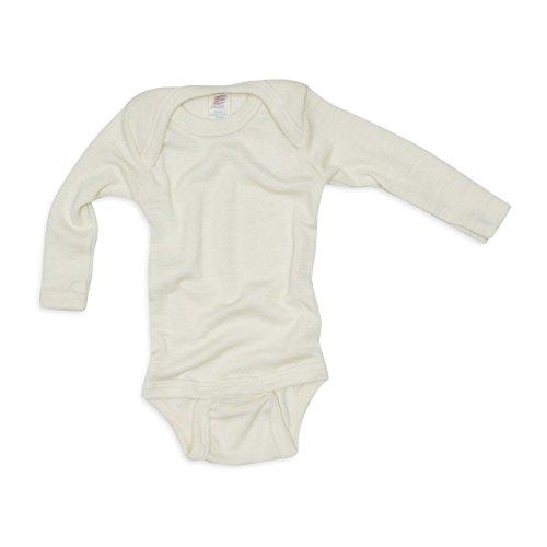 Baby Body langarm, Wolle Seide, Engel Natur, Gr. 74/80