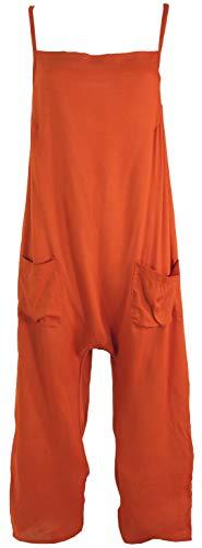 Guru-Shop Sommerliche Latzhose, Ethno Style Boho Einteiler, Overall, Damen, Rostorange, Synthetisch, Size:XL (42), Lange Hosen Alternative Bekleidung