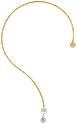 Lova Jewelry Asymmetric Pearl Pendant Gold Tone Metal Torque Choker Necklace