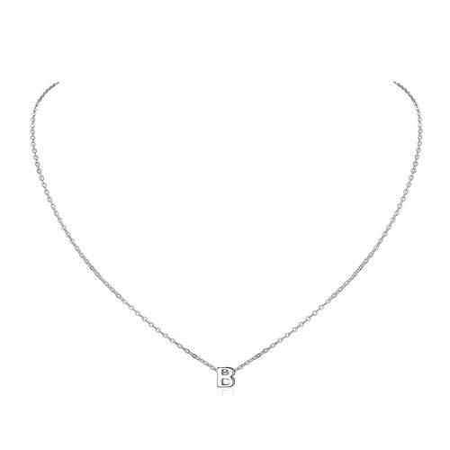ChicSilver B Collar Moderna Letras Primeras Nombres Plata de Ley 925 Platino Plateado Cadena Elegante Platino