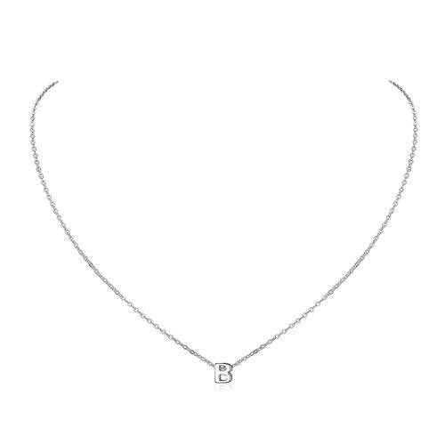 Initial Letter B Choker Necklace with Chain 925 Sterling Silver Women Name Jewelry Moongram Pendant
