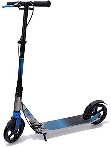 XLYYHZ 2 Ruedas Kick Scooter f u r Adultos y Adolescentes, Ajustable en Altura Scooter de Aluminio con Freno, llevando Adultos Pesados 100 kg de Carga máxima, Azul