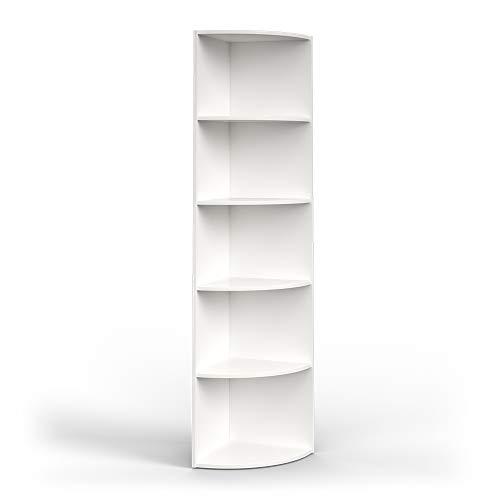 Vicco Eckregal 3 Dekore flexibel einsetzbar 5 Ablagen 180x40x40cm (Weiß Matt)