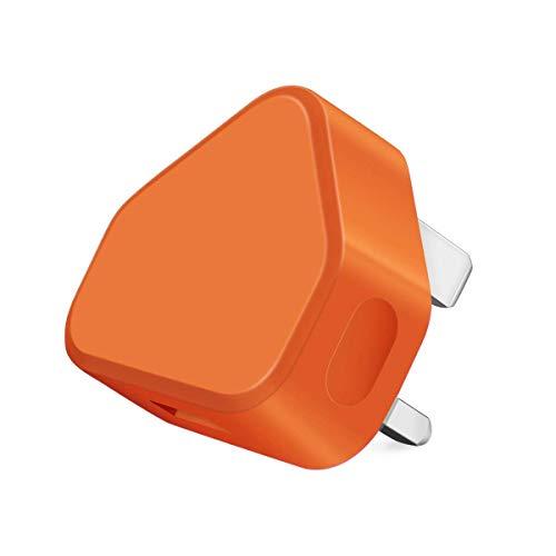Themax 1000mAh USB UK 3 Pin Plug Charger Adapter Compatible iPhone iPad Samsung HTC LG Sony Huawei Motorolla BlackBerry Lenova Microsoft Xiaomi Google Acer Asus OnePlus Tablets Kindle (Orange)