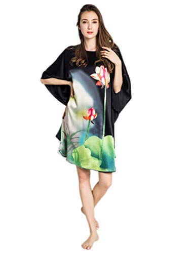 prettystern Peignoir Nuisette Femme Long Grande Taille Chemise de Nuit 100% Soie Kimono - Fleurs de Lotus de Chine