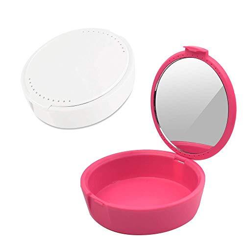 Y-Kelin Caja de retención con contenedor de retención de espejo caja de almacenamiento de dentadura parcial (rosa+blanco)