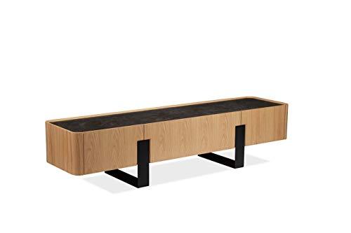TV meubel met 3 laden, keramische plaat in licht eiken, onderstel van metaal - modern design - collectie Verona