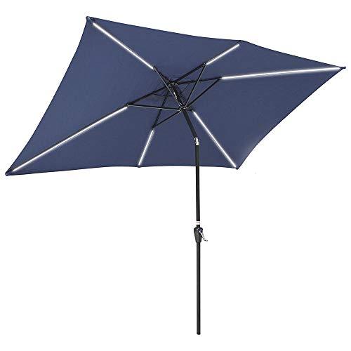 Yescom 10x6ft Rectangle Solar LED Lighted Patio Umbrella with Tilt and Crank Outdoor Market Table Umbrella Sunshade Navy