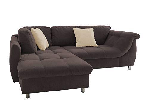 lifestyle4living Ecksofa mit Schlaffunktion in Braun mit großen Rücken-Kissen und Zierkissen, Microfaser-Stoff | Gemütliches L-Sofa mit Longchair im modernen Look