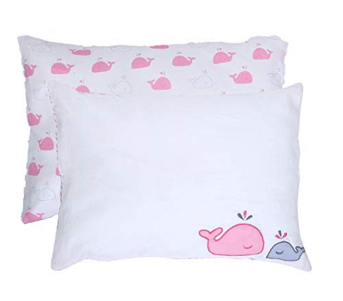 RAJRANG BRINGING RAJASTHAN TO YOU Baby Pillow Cases - Pack of 2 - Pure Soft Organic 100% Cotton Envelop Style Covers for Kids Baby Pink - 18x13 Inches