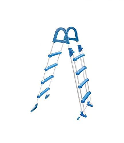 well2wellness® Poolleiter Hochbecken Sicherheitsleiter aus Stahlrohr - 4+4 Stufen bis 135cm Höhe