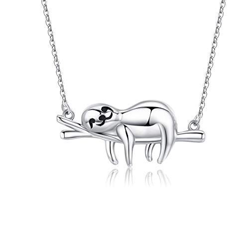 "CHENGHONG Sloth Gifts Sterling Silver Smile Sloth Necklace, Funny Unique Novelty Cute Animal Pendant for Women, Best Friends Birthday Gifts for Her ""Slow Down Keep Calm""18+2'"