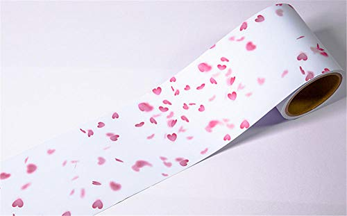 Borde del papel pintado Amor rosa Auto Adhesivo del Papel Pintado del PVC Cenefa autoadhesiva para decoración de pared de cocina baño...