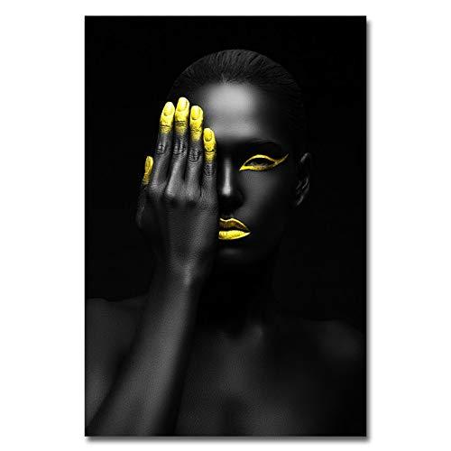 Frameloos Canvas Prints Schilderij Moderne Zwarte Vrouw Model Wall Art Poster En Prints Foto Woondecoratie Voor Woonkamer <> 40x60cm