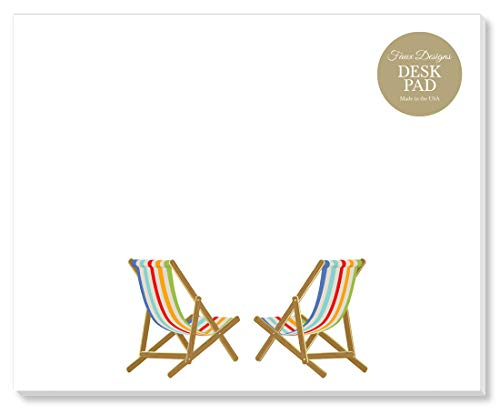 Multi-Colored Beach Chairs Designer Desk/Mouse Pad Premium Quality 50 Tear Off Sheets, 7.25 x 9 inches to Do List Organization Scheduling Appointments Messages Notes by Faux Designs
