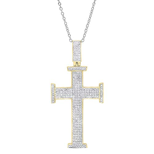0.80 Carat (ctw) 18K Round White Diamond Cross Pendant 3/4 CT (Silver Chain Included), Yellow Gold