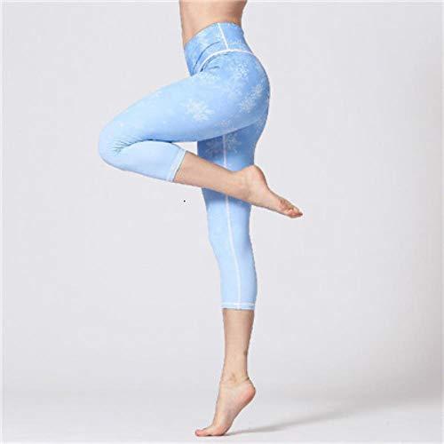 HPPLSport Yogabroek Bloemenprint Gym Leggings Sport Dames Fitness Yogalegging Sport Femme Hoge taille Workout Sport Panty Dames, Blauw-2 Yogabroek, S
