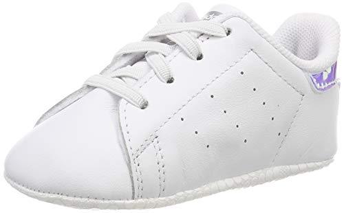 adidas Stan Smith Crib, Scarpe da Ginnastica Unisex-Bambini, Ftwr White/Ftwr White/Silver Met, 17 EU