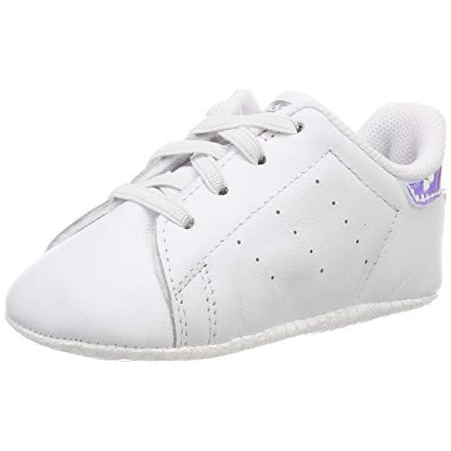 adidas Stan Smith Crib, Scarpe da Ginnastica Unisex-Baby, Ftwr White/Ftwr White/Silver Met, 17 EU