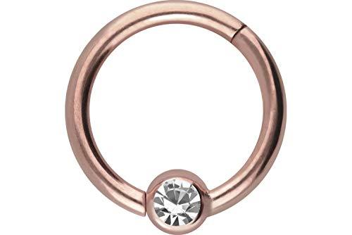 PIERCINGLINE Chirurgenstahl Clicker Ring | Kugel mit KRISTALL | Piercing Septum Ohr Tragus Helix | Farb & Größenauswahl
