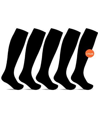 Minfot Stützstrümpfe für Damen und Herren, 5 Paar schwarze Kompressionsstrümpfe in einer Box, Klasse 1, hochwertige Baumwolle. Für den Alltag, zu Hause, bei der Arbeit, auf Flugreisen, (Schwarz 43-45)