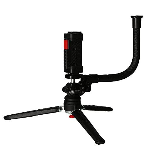 Rollei Comfort Vlogging Set, Mini-Stativ mit Smartphone-Halterung, Kugelkopf und Zubehör-Arm. Ideal für das Videofilmen mit dem Handy