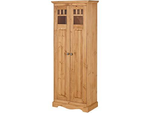 Loft24 A/S 2-TRG. Kleiderschrank mit Kleiderstange Dielenschrank Garderobenschrank Schrank Schlafzimmer Landhaus Kiefer Massivholz 70 x 38 x 180 cm (gebeizt geölt)