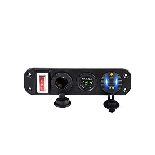 HEYLULU 4in1 12V Coche QC3.0 USB Tipo C PD Cargador rápido Panel de Enchufe Interruptor de voltímetro LED Panel automático Negro