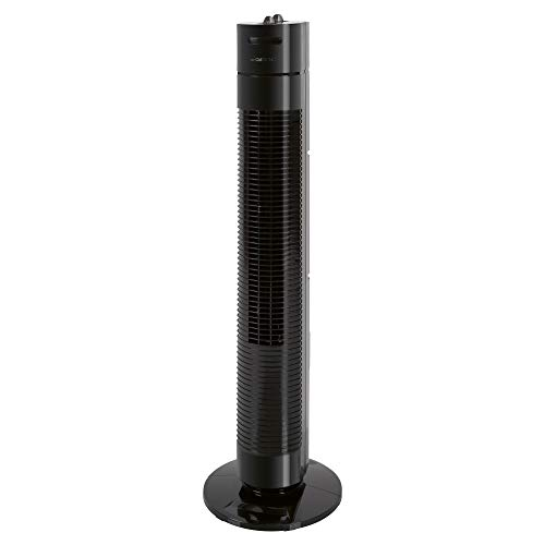 Clatronic Tower-Ventilator TVL 3770, 3 Geschwindigkeitsstufen, 75° oszillierend (abschaltbar), 120 Minuten-Timer, schwarz