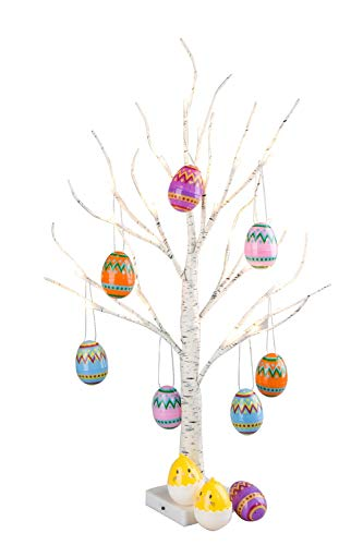 Easter Decor,Vanthylit Pre-lit 2FT Easter Egg Floral Tree Lights with Timer Centerpiece Decoration Tabletop for Easter Home Wedding Holiday