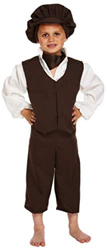 5 Pièces Garçons Oliver Twist Pauvre Gavroche Victorien Paysante Journée du Livre Déguisements Costume 4-12 Ans - Noir, 10-12 Years