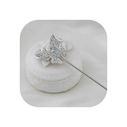 ROBE coiffe pour femme chinoise traditionnelle papillons et chat en forme de deux styles épingles à cheveux mariage ou cadeaux de coiffure Silverbutterfl - - taille unique
