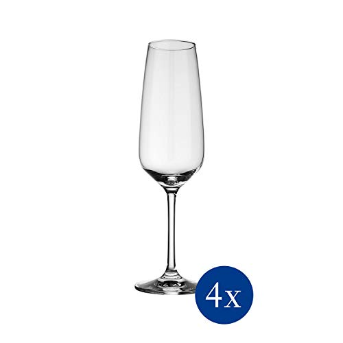 Vivo by Villeroy & Boch Group Voice Basic Flute da Champagne, Set da 4 Pezzi, 283 ml, Cristallo, Trasparente