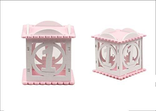 Takestop - Caja de madera rosa - Juego de 12 unidades - Número 1 - 7,5 x 7 x 7 cm - Baúl portaobjetos portajoyas - Caja de almacenamiento única