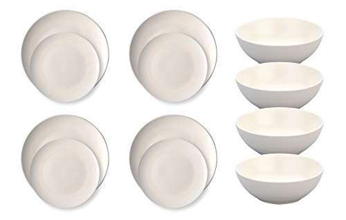 """12-Piece Coupe Dinner Set – Ziena Stoneware - Set for 4 – Cream – Commercial-Grade - Includes 10 ¼"""" Coupe Dinner Plates 7 78"""" Dessert Plates and 1120oz 5 ½"""" Coupe Bowls - 700011"""