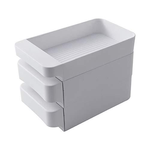 Tipo de cajón puede ser apilado organizador de alimentos huevos caja de almacenamiento nevera caja de mantenimiento de alimentos alimentos alimentos frutas y verduras 0414 (color : blanco, tamaño: L)