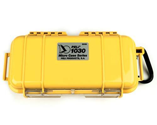 PELI 1030 Robustes Micro Case für Kleine Accessoires, IP67 Wasser- und Staubdicht, 0,6L Volumen, Hergestellt in den USA, Gelb/ Schwarze Gummieinlage