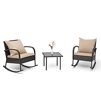 Crestlive Products 3 PCS Patio Wicker Bistro Set Outdoor Rattan Rocking Chairs with Glass-Top Coffee Table All-Weather Conversation Set (Tan)