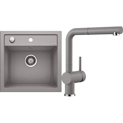 BLANCO Spül-Set in alumetallic – DALAGO 5 – Spülbecken für 50 cm Unterschränke – Granitspüle aus SILGRANIT + LINUS-S – Küchenarmatur in SILGRANIT-Look – mit herausziehbarem Auslauf